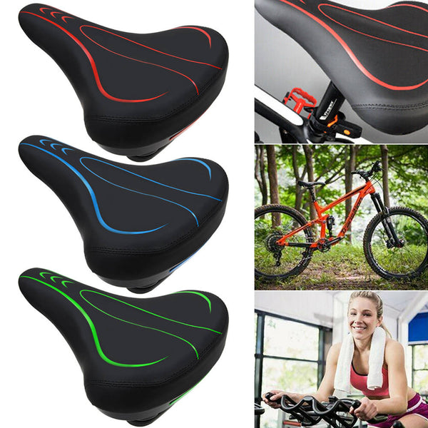 Wide Bum Bike Bicycle Gel Shockproof Comfort Pad Saddle Seat With Tail Light
