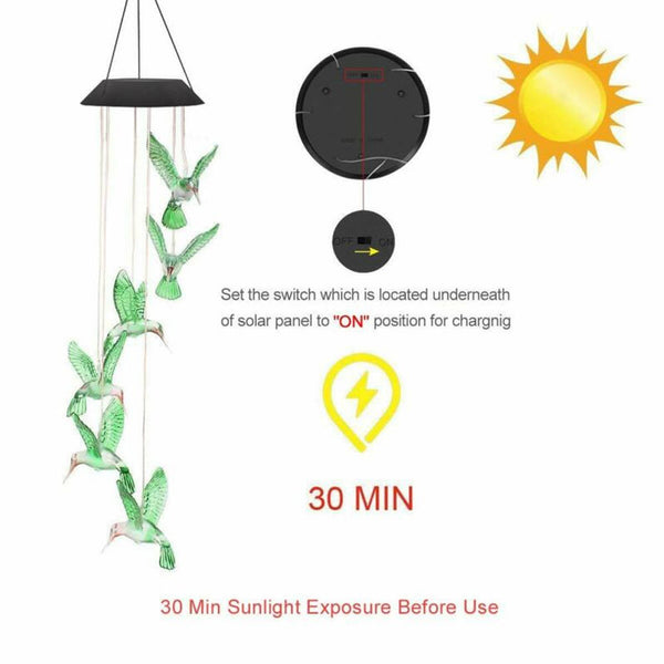 Solar Color Changing LED Ball Wind Chimes Home Garden Yard Decor Light Lamp
