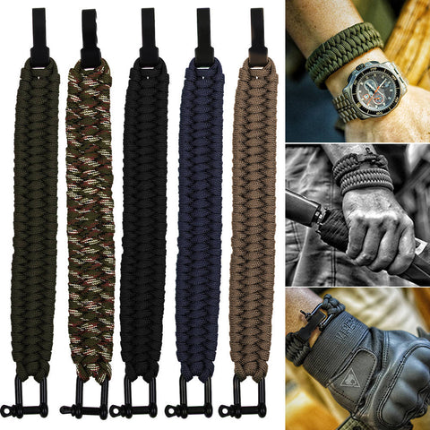 Survival Rope Paracord Bracelet Outdoor Camping Hiking Steel Shackle Buckle