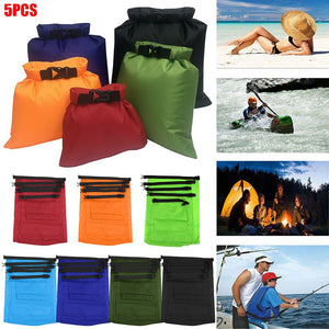 5Pcs Waterproof Dry Bag Swimming Kayaking Drifting Buckled Storage Sack
