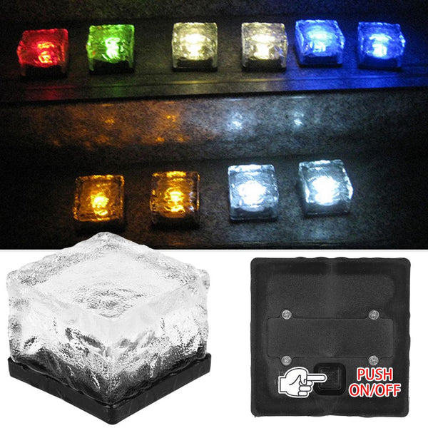 Solar LED Ice Cube Lights White Block Outdoor Patio Decking Pathway Light