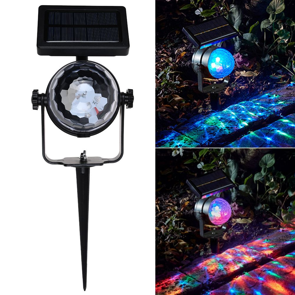 Solar Rotating LED Projection Light Garden Lawn Lamp Outdoor Bulb Colorful