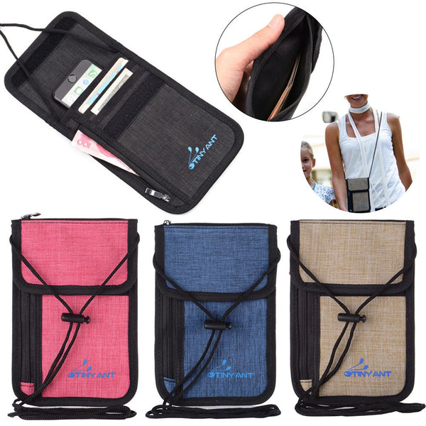 Unisex Travel Secure Passport Neck Wallet Holder Bag Money Cards Bag
