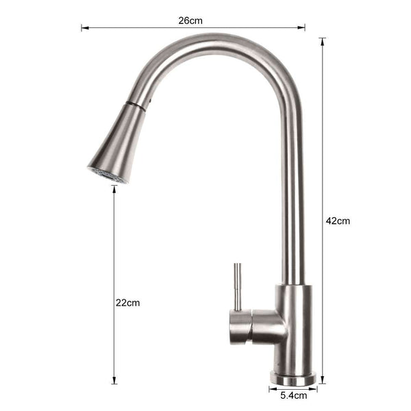 Brushed Nickel Kitchen Sink Faucet Pull Out Sprayer Swivel Mixer Tap