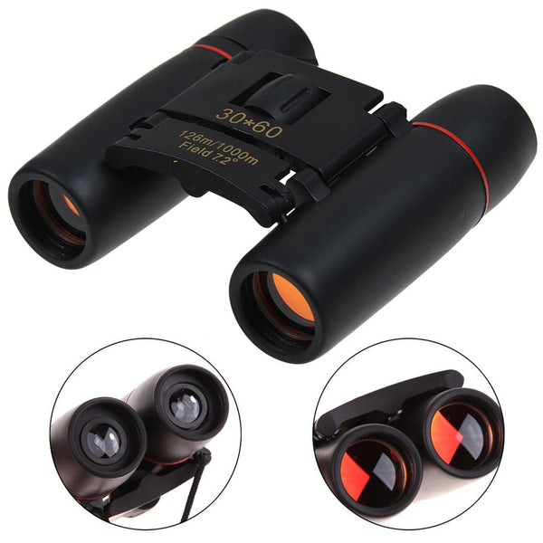 30x60 HD Binocular Folding Zoom Telescopes Optical Lens Day Night Vision
