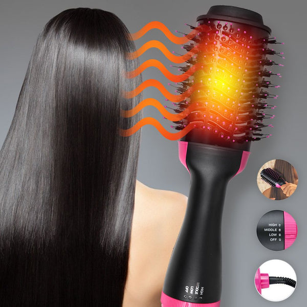 2 In 1 One Step Hair Dryer and Volumizer Brush Straightening Curling Comb