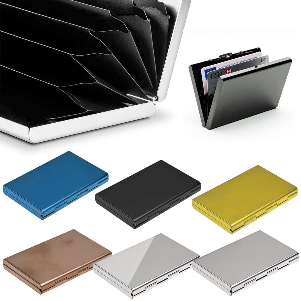RFID Blocking Credit Card ID Holder Slim Money Travel Wallet Stainless Steel