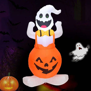 Halloween Inflatable Blow in Pumpkin Up Outdoor Yard LED Lights Decor