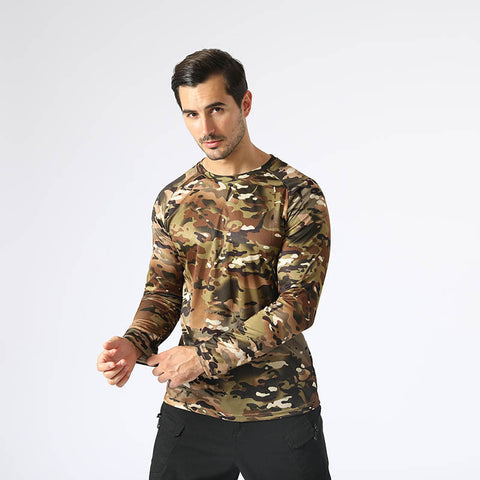 Men Camouflage Quick Drying Long Sleeves Sports t- Shirt