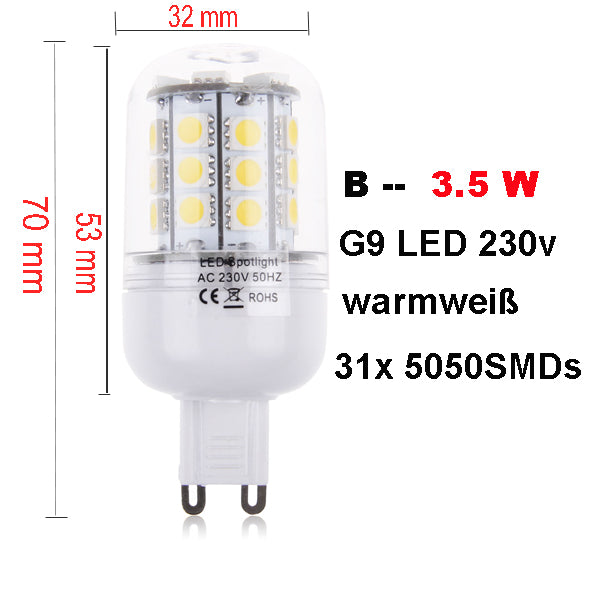 2 X G9 3.5W 30 LED 5050 SMD Lamp Bulb Spot Light Fixture Bulb Warm White