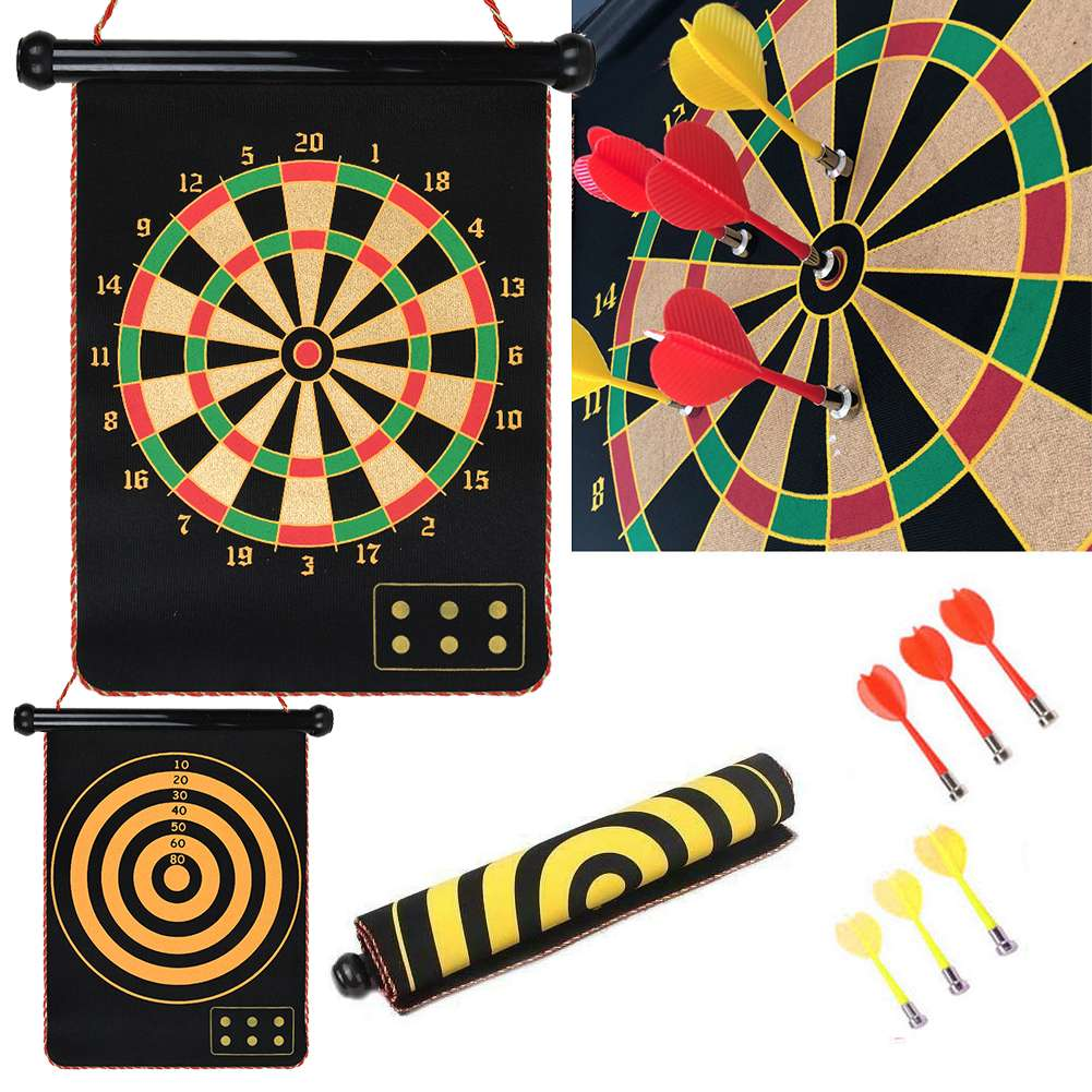 Magnetic Dartboard Roll Up 2-6 Magnet Darts Game Dart Board Double Sided Fun