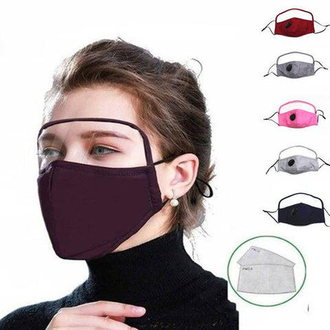 Rewashable Face Mask PM2.5 Dustproof Mask with Eyes Shield with Filters