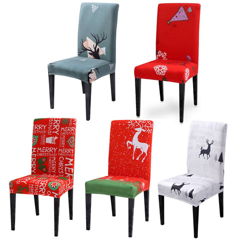 Christmas Chair Cover Elastic Folding Chair Back Covers Holiday Party Decor