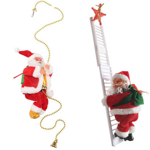 Musical Climbing Ladder Beads Santa Claus Christmas Xmas Figurine Ornament