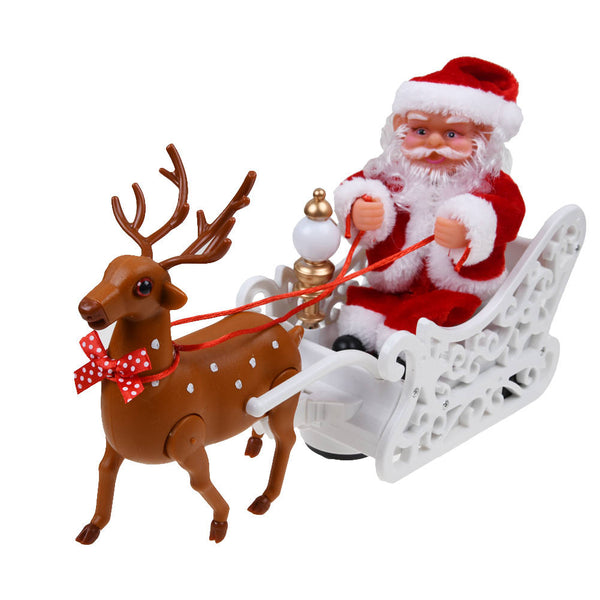 Santa Claus Doll Elk Toy Electric Universal Car with Music