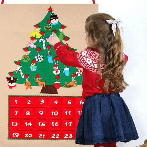 1-24 DIY Felt Christmas Advent Calendar Xmas Tree Countdown Calendar