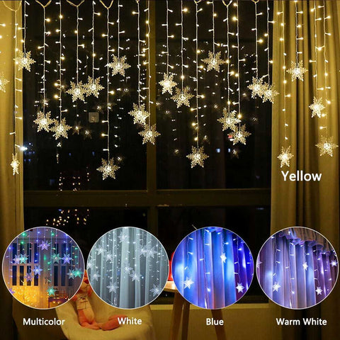 96 LED 11Ft/3.5M Snowflake String Lights Garden Wedding Party Decor