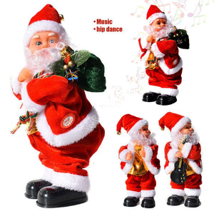 Christmas Electric Santa Claus Doll Twisted Hip Music Figurine Toy Gift