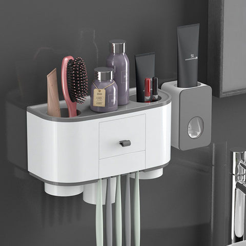 Wall Mounted Toothbrush Holder With Cups + Automatic Toothpaste Dispenser