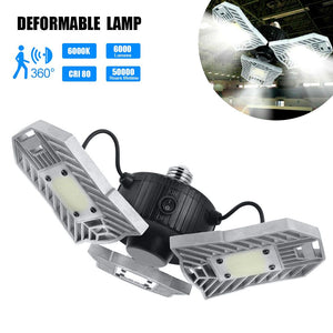 6000LM LED Deformable Radar Garage Light Motion Activated Ceiling Lamps Bulb