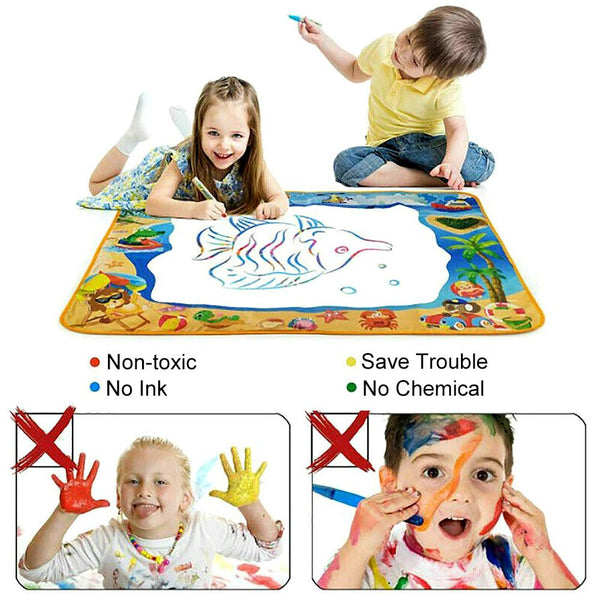 100*70cm Children Water Drawing Mat Aqua Magic Doodle Board with 3 Magic Pen