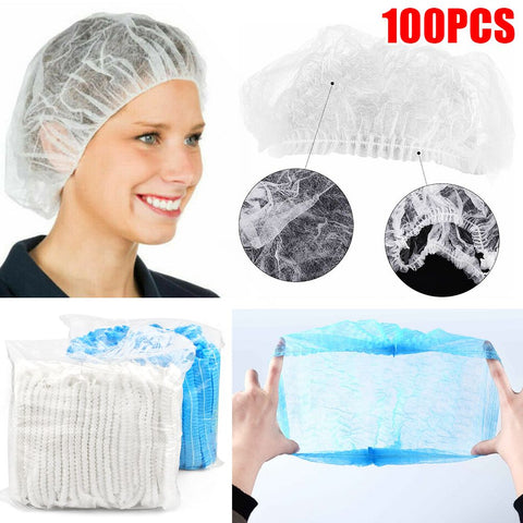 "100pcs 21"" Disposable Hair Net Non Woven Stretch Dustproof Cap Head Cover"