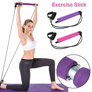 Multifunction Portable Pilates Bar Resistance Band Stretch Stick Strap