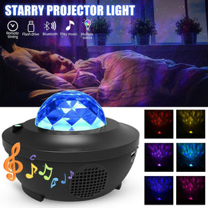 Projector Star Lights Wave LED Night Light with Music Speaker