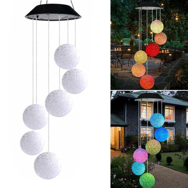 Solar LED Garden Wind Chimes Outdoor  Tree Hanging Color Changing Lights