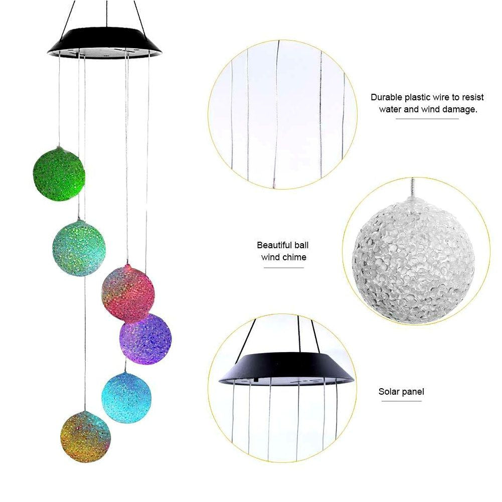 Hanging Wind Chimes Solar Powered LED Light Colour Changing Outdoor Yard F4L7