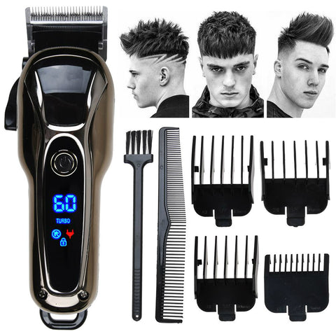 Electric LCD Display Men Shaving Alloy Blade Trimmer Clipper Haircut Machine
