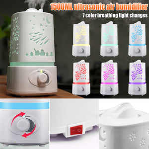 1.5L Ultrasonic Air Humidifier Diffuser Purifier Aroma Room LED Change