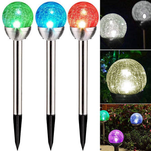 Stainless Steel Solar Powered LED Crack Ball Garden Light
