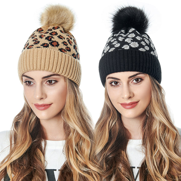 Women Knitted Leopard Print Pom Pom Hat with Faux Fur Ball