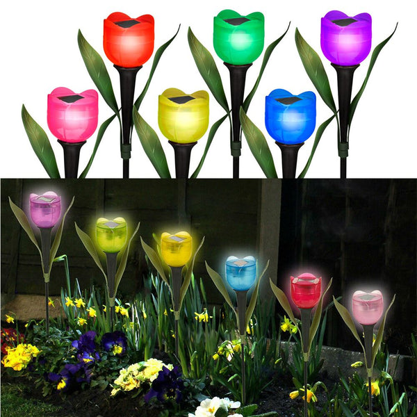 Garden Flower LED Solar Powered Lights Outdoor Yard Standing Decor