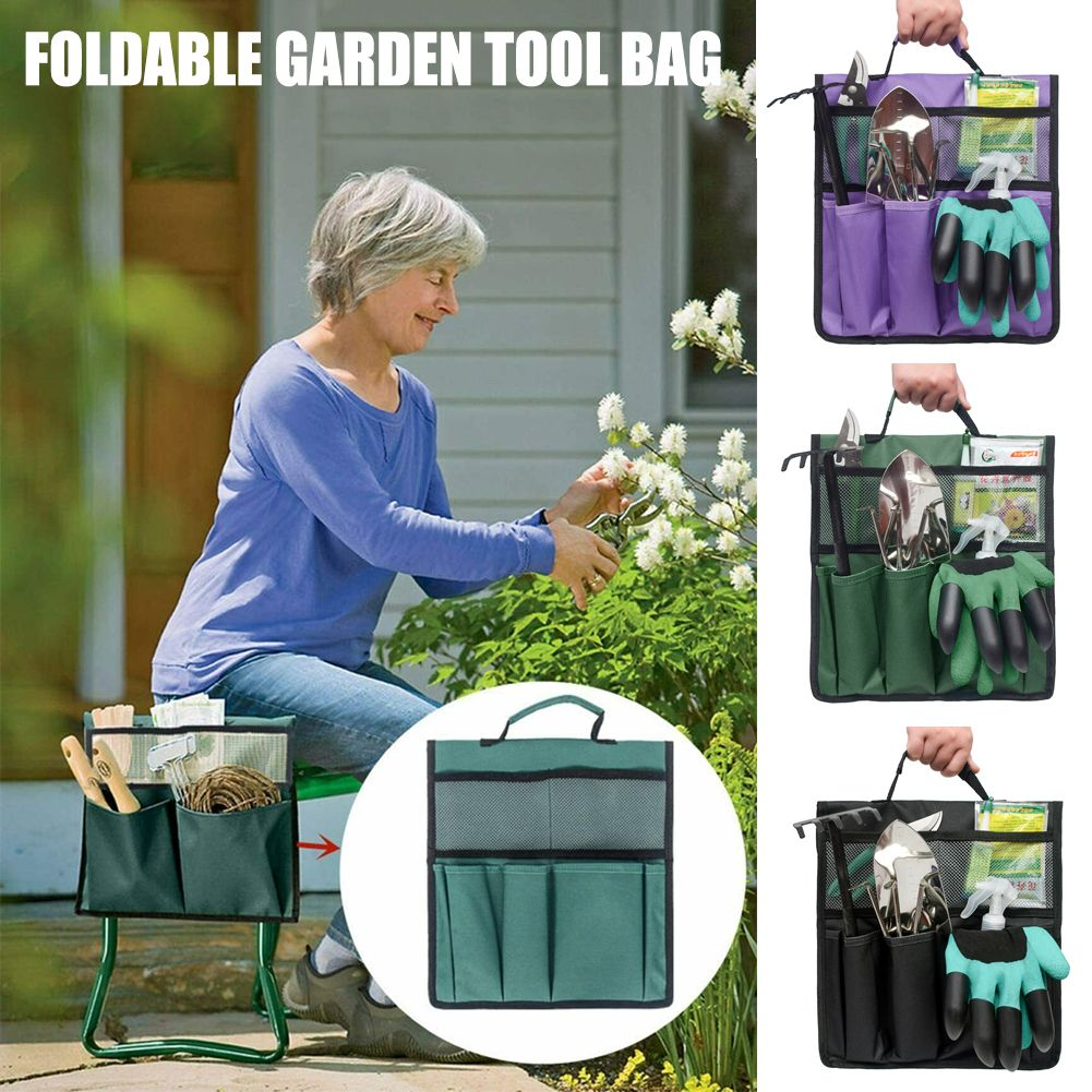Foldable Garden Kneeler Seat Tool Bag Outdoor Work Cart Storage Pouch