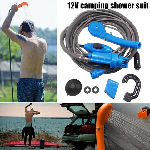12V Car Camping Shower Spray Pump Kit Portable Outdoor Travel Hiking