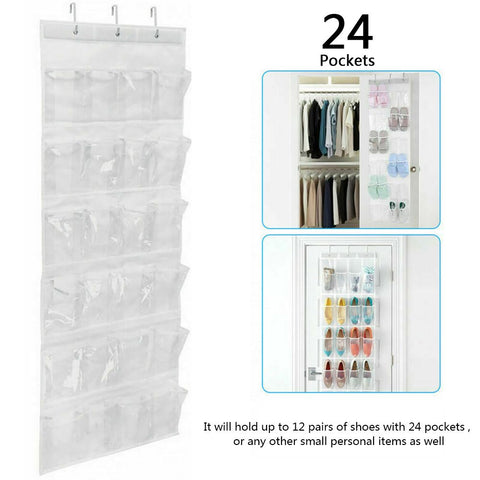 24 Pocket Over the Door Shoes Organizer Rack Hanging Storage Space Saver