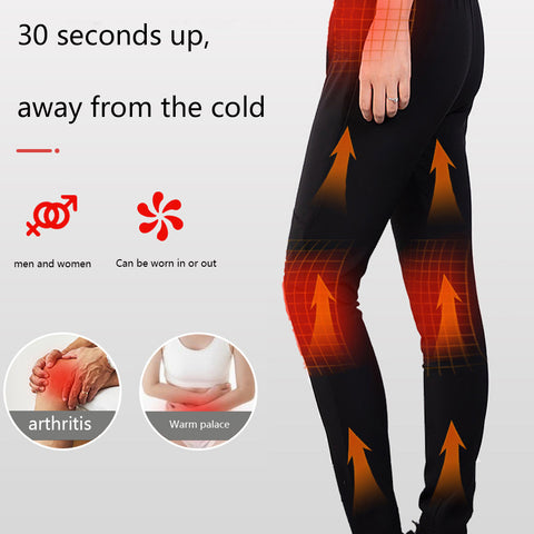 Unisex Women Men Winter Outdoor Hiking Heating Trousers Slim USB Charging Heated Pants
