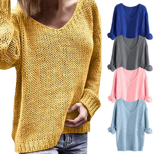 Women V-neck Long Sleeve Cotton Solid Color Sweater