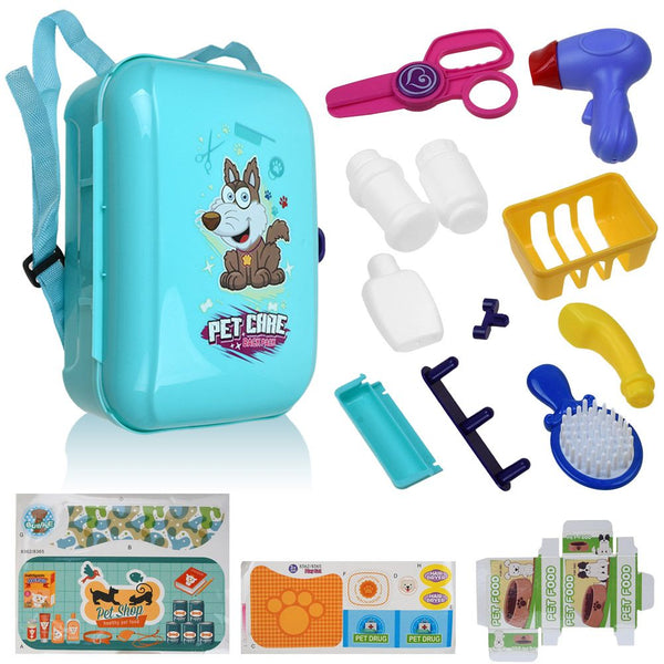 16pcs Role Play Veterinary Suit Pet Grooming Pet Care Backpack Toy