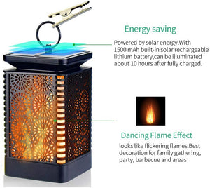 Solar PoweredLantern Lights Color Dancing Flame Waterproof Outdoor Hanging Lantern