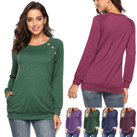 Women Casual Tunic Tops O-neck Button Blouses