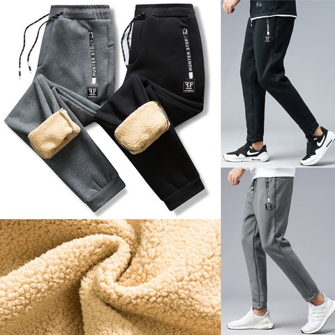 Men Fleece Warm Winter Elastic Waist Pants