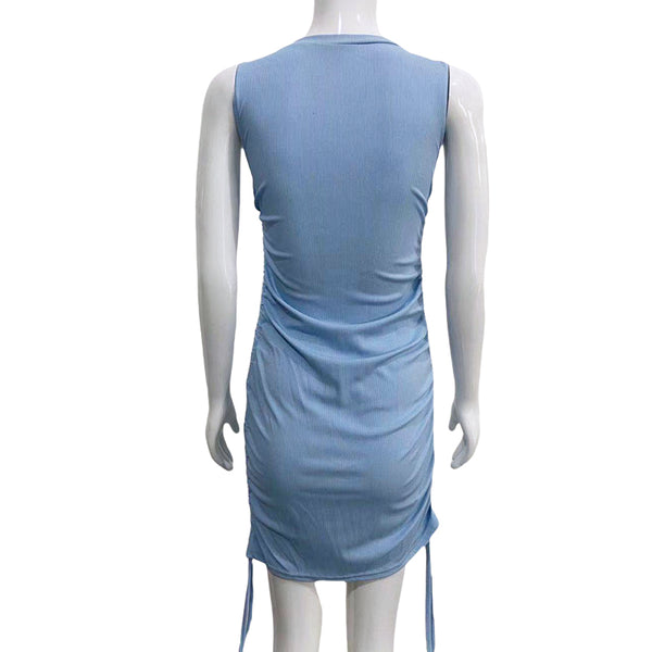 Women Round Neck Drawstring Hip Wrap Tight Dress