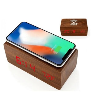 Wooden Digital LED Alarm Clock with Wireless Charging