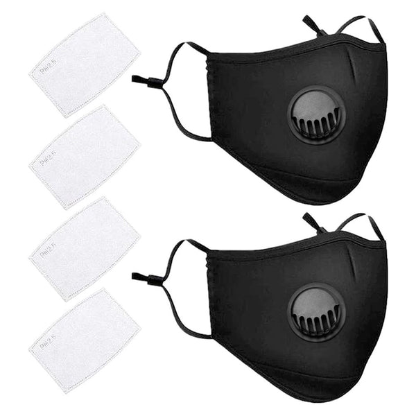 2 Pack Reusable PM 2.5 Anti Dust Masks Washable Face Mask with 4 Pcs Filter Sheet