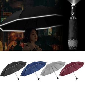 Inverted Umbrella with Reflective Stripe and Flashlight Windproof Automatic Folding Umbrella