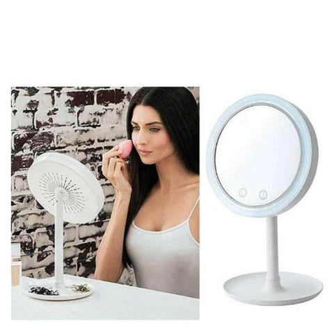 Mirror Desk-Top Sweat-Free Makeup Triad With Fan LED Light