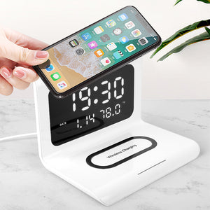 Digital Alarm Clock with Wireless Charger LED Display USB Charging